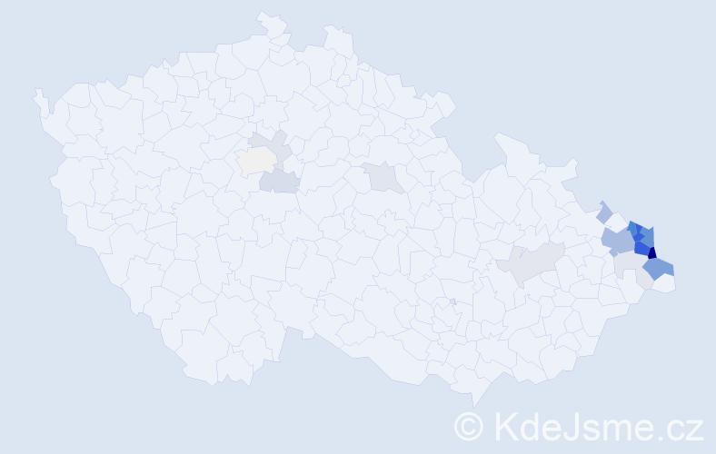 Příjmení: 'Danelová', počet výskytů 70 v celé ČR