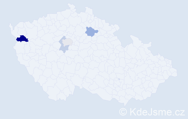 Příjmení: 'Kačmáček', počet výskytů 7 v celé ČR