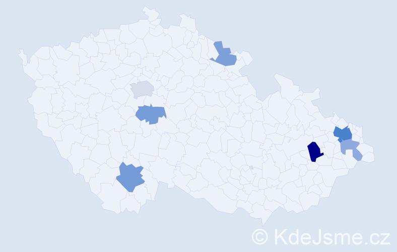 Příjmení: 'Kesely', počet výskytů 15 v celé ČR