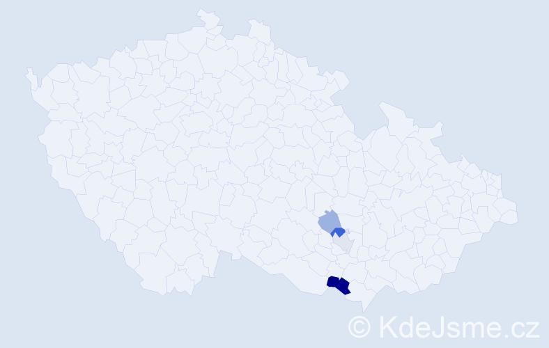 Příjmení: 'Bešter', počet výskytů 18 v celé ČR