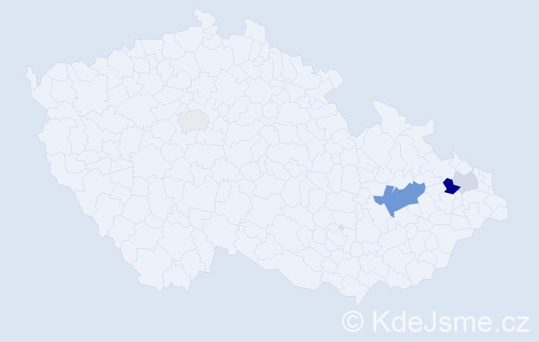 Příjmení: 'Holicová', počet výskytů 7 v celé ČR