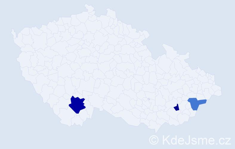 Příjmení: 'Ivana', počet výskytů 5 v celé ČR
