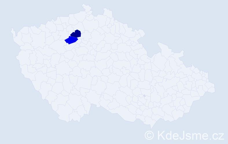 Příjmení: 'Bilišňanský', počet výskytů 4 v celé ČR