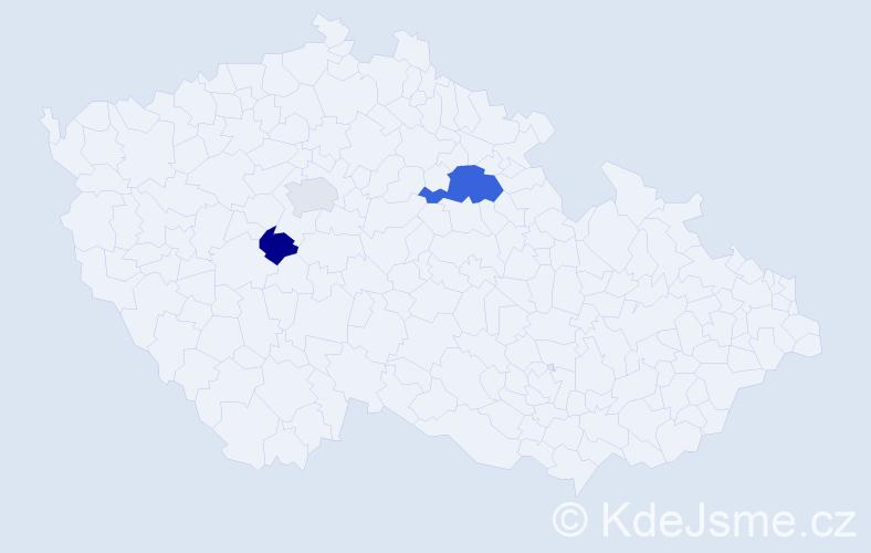 Příjmení: 'Dubšek', počet výskytů 5 v celé ČR