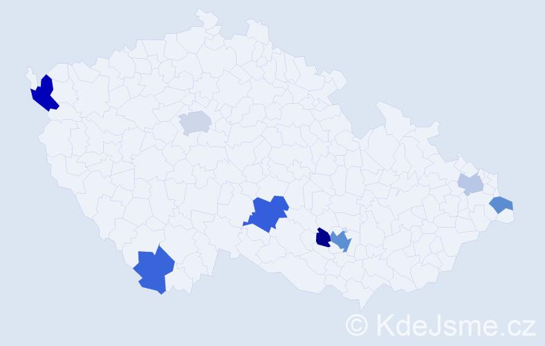 Příjmení: 'Laus', počet výskytů 14 v celé ČR