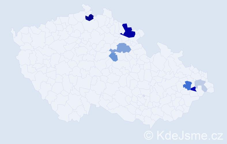 Příjmení: 'Kujovská', počet výskytů 20 v celé ČR