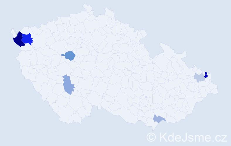 Příjmení: 'Cibová', počet výskytů 20 v celé ČR