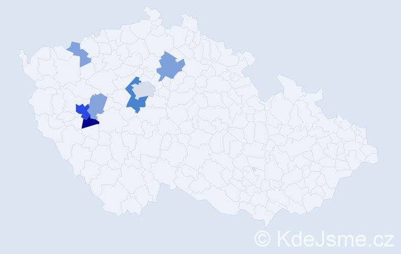 Příjmení: 'Jirmářová', počet výskytů 19 v celé ČR
