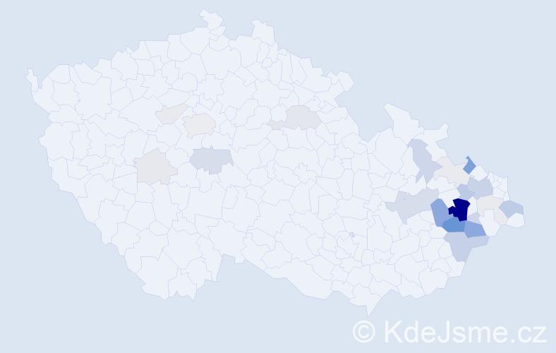 Příjmení: 'Hasalíková', počet výskytů 103 v celé ČR