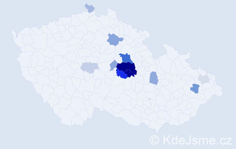 Příjmení: 'Češík', počet výskytů 42 v celé ČR