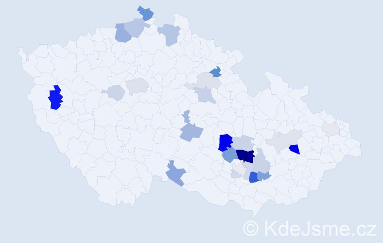 Příjmení: 'Magda', počet výskytů 63 v celé ČR