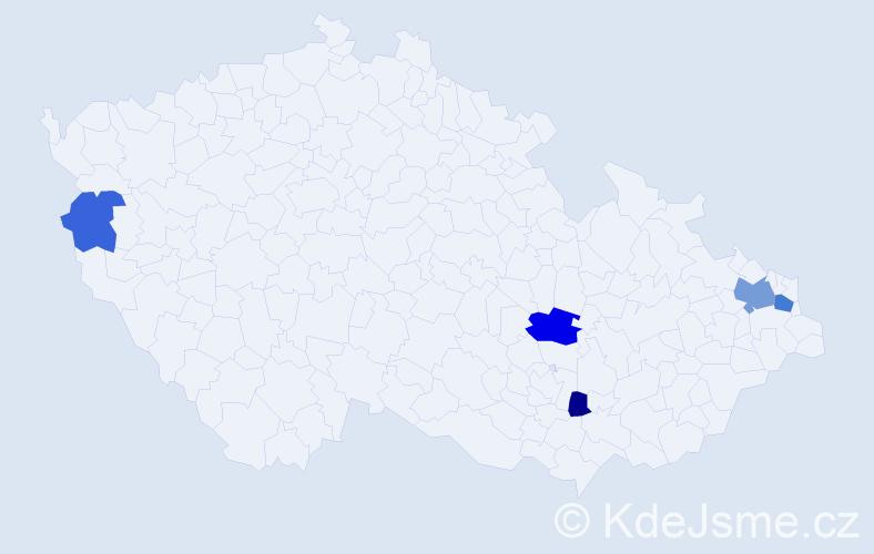 Příjmení: 'Říháková', počet výskytů 9 v celé ČR