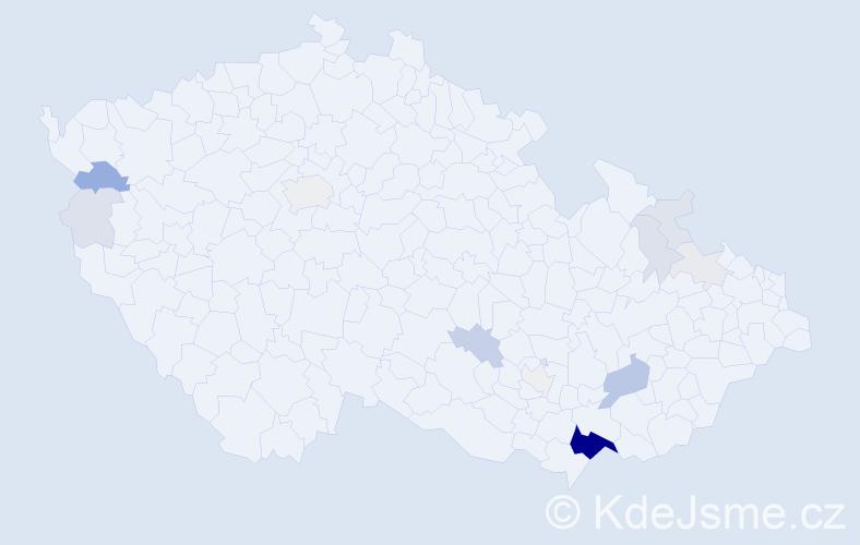 Příjmení: 'Gajdíková', počet výskytů 58 v celé ČR