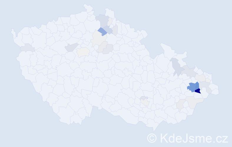 Příjmení: 'Hoďák', počet výskytů 112 v celé ČR