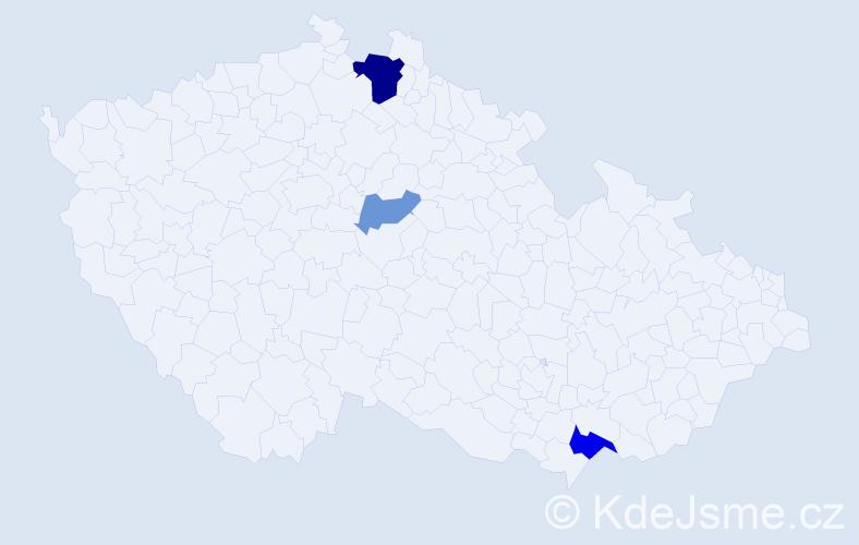 Příjmení: 'Hepalová', počet výskytů 7 v celé ČR