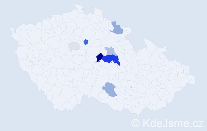 Příjmení: 'Gieslerová', počet výskytů 12 v celé ČR