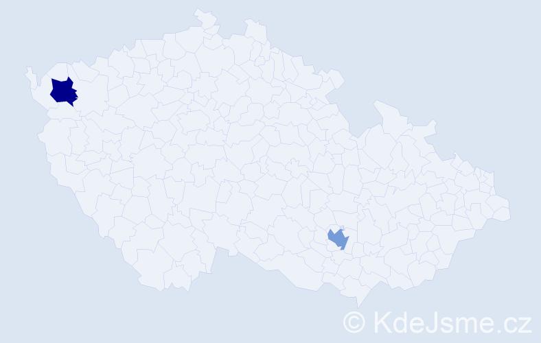 Příjmení: 'Arab', počet výskytů 2 v celé ČR