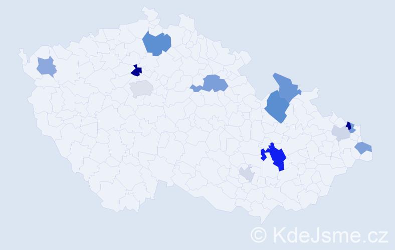 Příjmení: 'Bjalončík', počet výskytů 22 v celé ČR