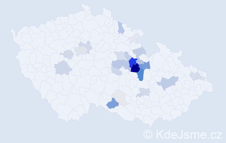 Příjmení: 'Chleboun', počet výskytů 110 v celé ČR