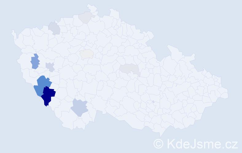 Příjmení: 'Kindelmannová', počet výskytů 41 v celé ČR