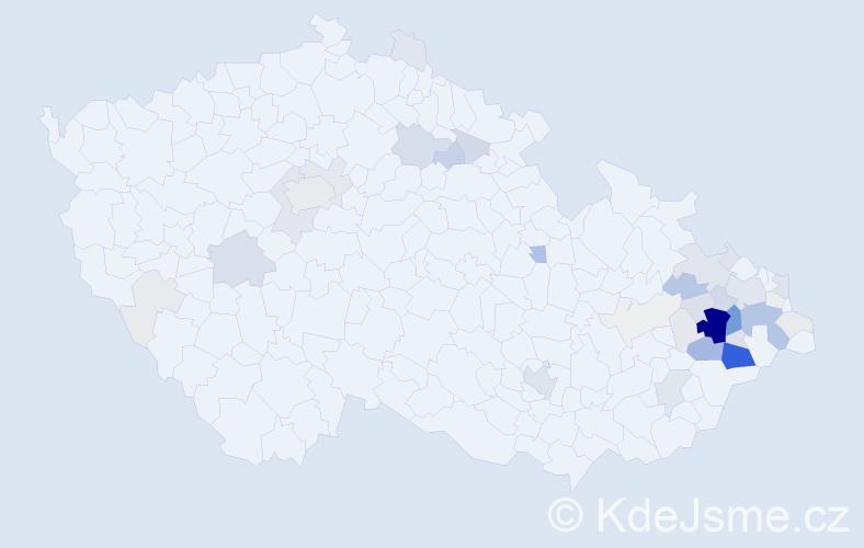 Příjmení: 'Číp', počet výskytů 194 v celé ČR