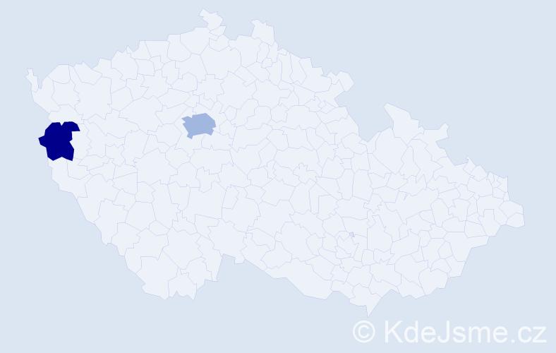 Příjmení: 'Geslová', počet výskytů 4 v celé ČR