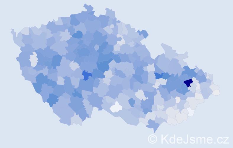 Příjmení: 'Králová', počet výskytů 10378 v celé ČR