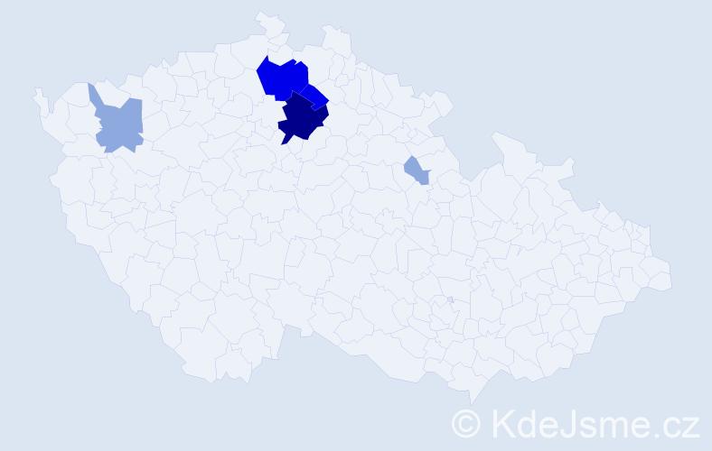 Příjmení: 'Čurej', počet výskytů 18 v celé ČR