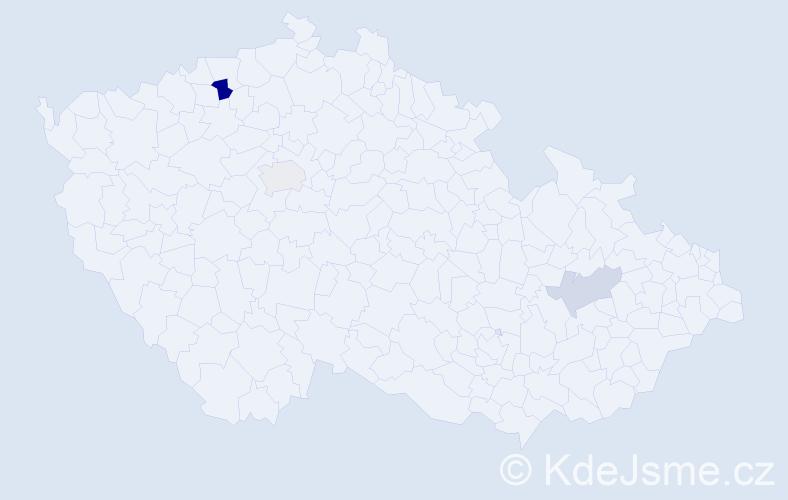 Příjmení: 'Hufnagelová', počet výskytů 5 v celé ČR