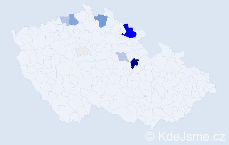 Příjmení: 'Čočo', počet výskytů 16 v celé ČR