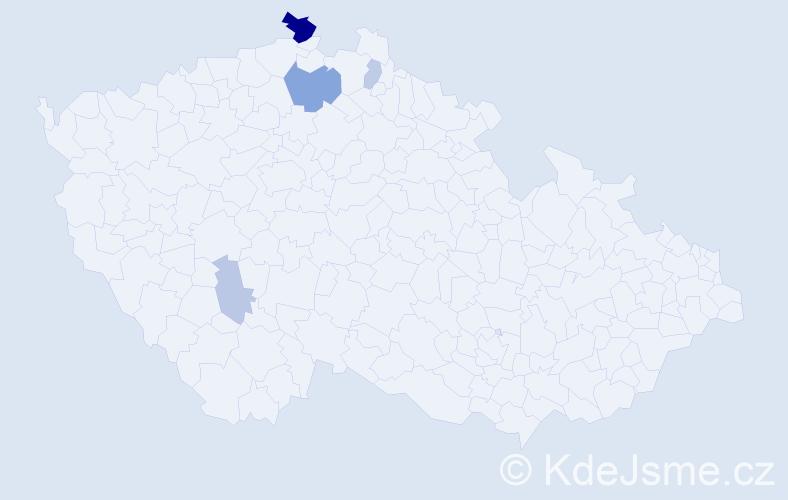 Příjmení: 'Kozanová', počet výskytů 11 v celé ČR
