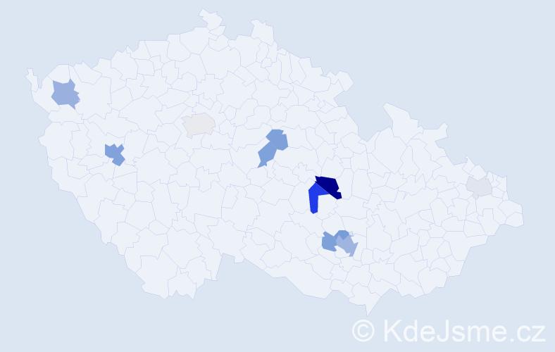 Příjmení: 'Cajzlová', počet výskytů 25 v celé ČR
