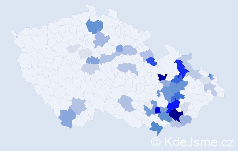 Příjmení: 'Kočíř', počet výskytů 145 v celé ČR