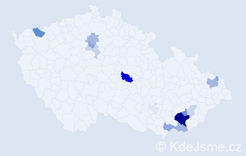 Příjmení: 'Gajdorusová', počet výskytů 33 v celé ČR