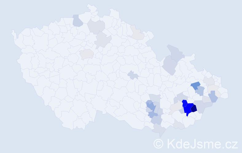 Příjmení: 'Javora', počet výskytů 162 v celé ČR