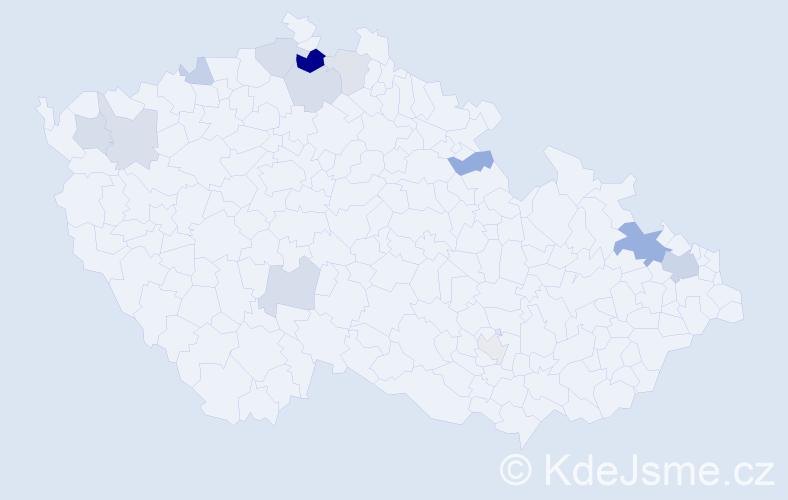Příjmení: 'Grošaft', počet výskytů 24 v celé ČR