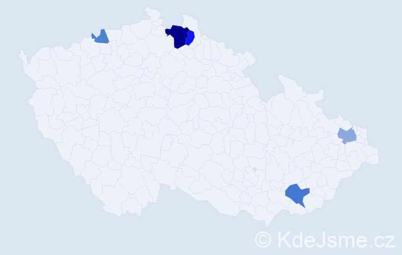 Příjmení: 'Hanušáková', počet výskytů 12 v celé ČR