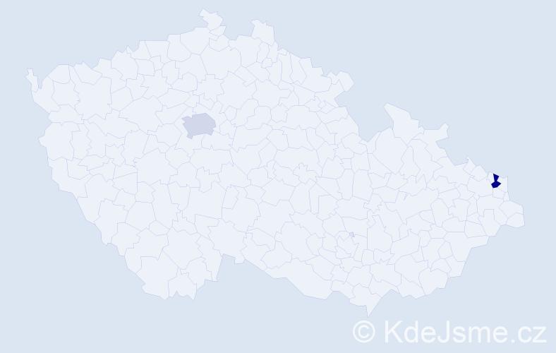 Příjmení: 'Bakšay', počet výskytů 2 v celé ČR