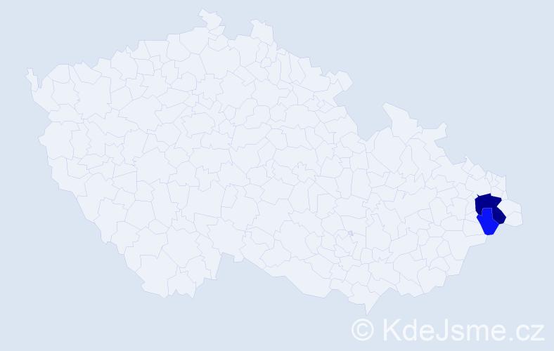 Příjmení: 'Gulkás', počet výskytů 6 v celé ČR