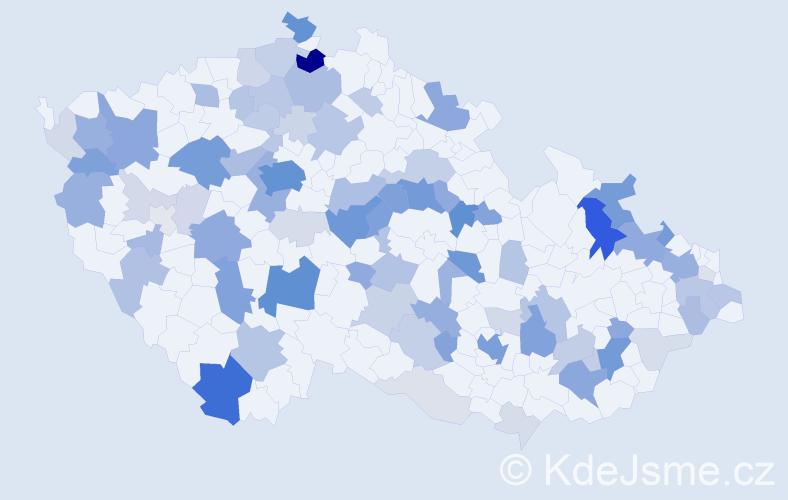 Příjmení: 'Borský', počet výskytů 307 v celé ČR