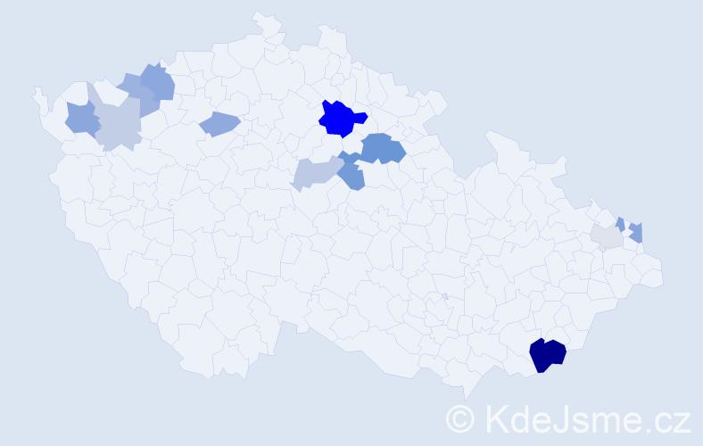 Příjmení: 'Bráborec', počet výskytů 30 v celé ČR