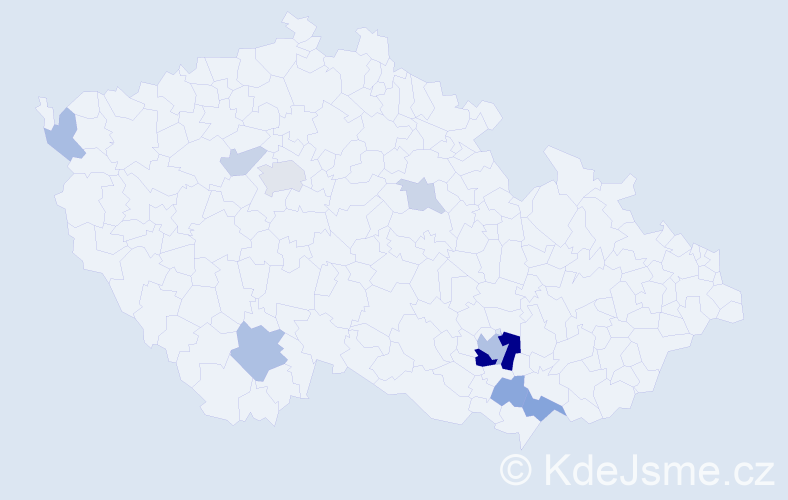 Příjmení: 'Gallina', počet výskytů 23 v celé ČR
