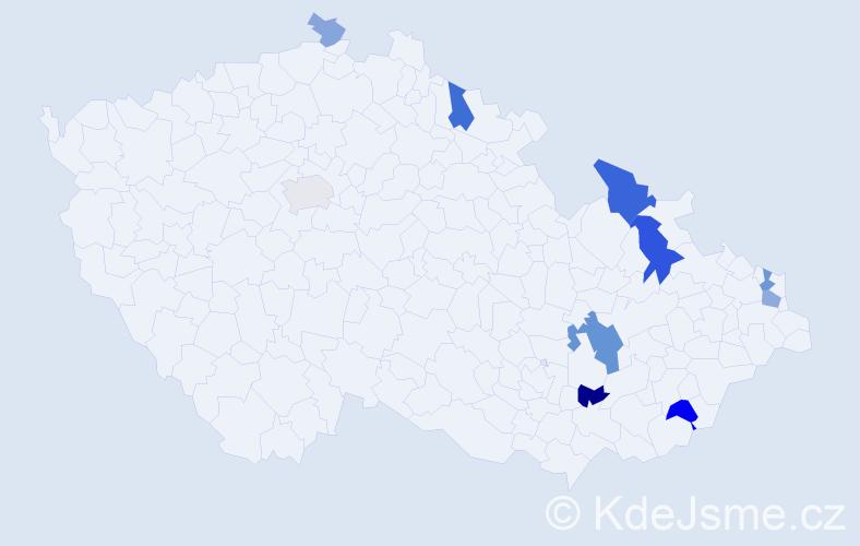 Příjmení: 'Kutáčková', počet výskytů 23 v celé ČR