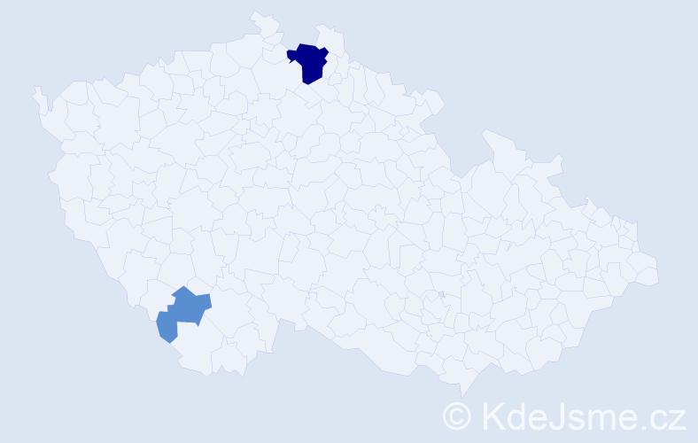 Příjmení: 'Heligarová', počet výskytů 8 v celé ČR
