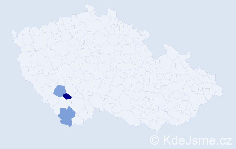 Příjmení: 'Bédáková', počet výskytů 3 v celé ČR