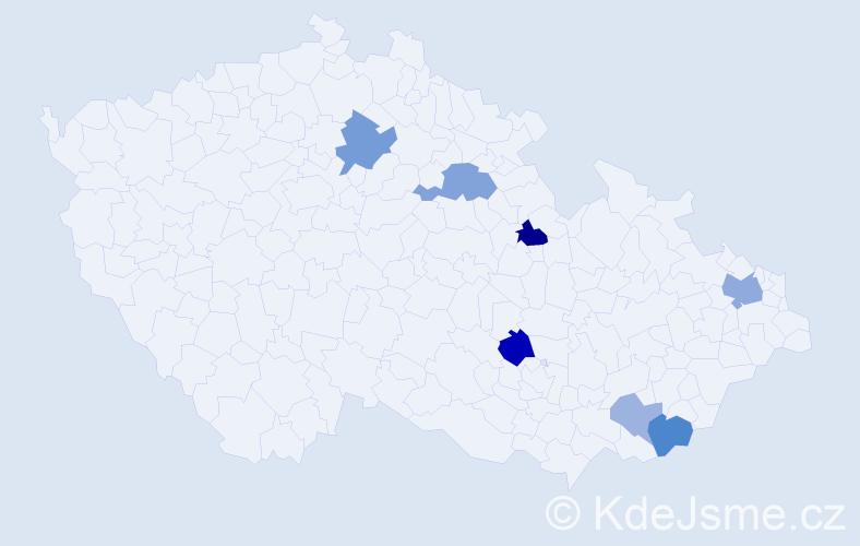 Příjmení: 'Fikselová', počet výskytů 14 v celé ČR