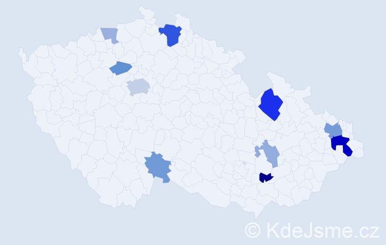 Příjmení: 'Čupková', počet výskytů 27 v celé ČR