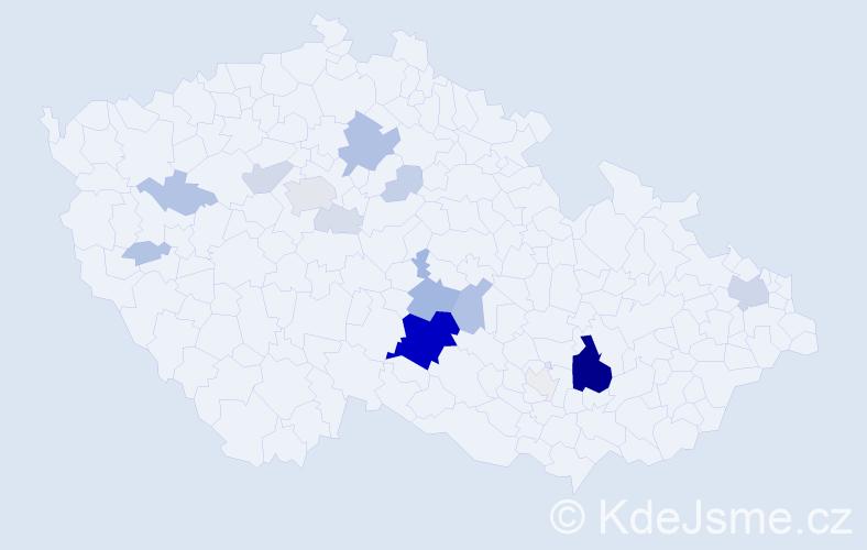 Příjmení: 'Hőfer', počet výskytů 72 v celé ČR
