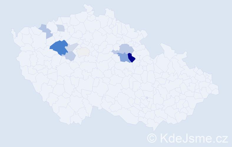 Příjmení: 'Číhařová', počet výskytů 19 v celé ČR