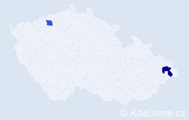 Příjmení: 'Glivický', počet výskytů 6 v celé ČR